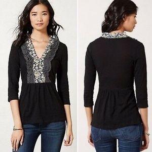 Anthropologie Deletta Slub Knit Tuxedo Shirt